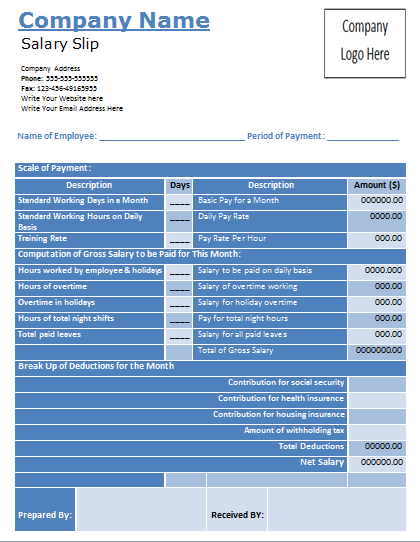 Salary Slip Format – Payslip Sample Word Format